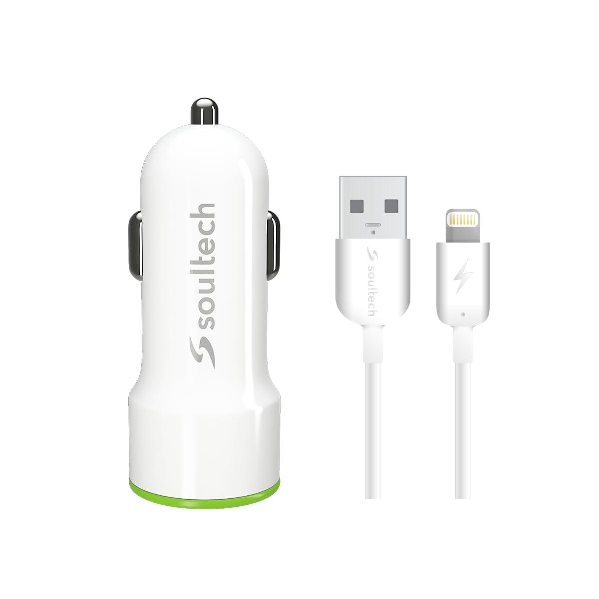 Soultech Comfort Iphone 5/6/7/8 2 Usb Araç Şarjı + Kablo SC343B 3.1 MAH  Beyaz