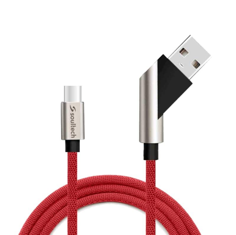 Soultech Hareketli Fast 2.4 Type-C Platinum Kablo DK028K  Kırmızı