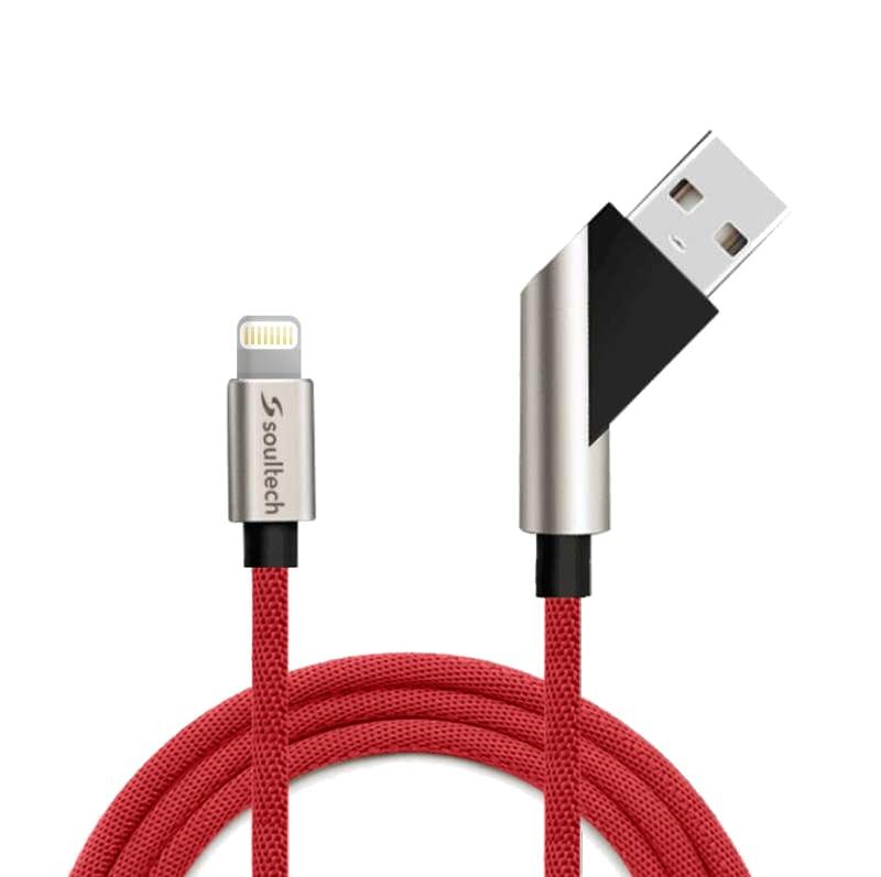 Soultech Hareketli Fast 2.4 iPhone 5/6/7/8 Platinum Kablo DK026K  Kırmızı
