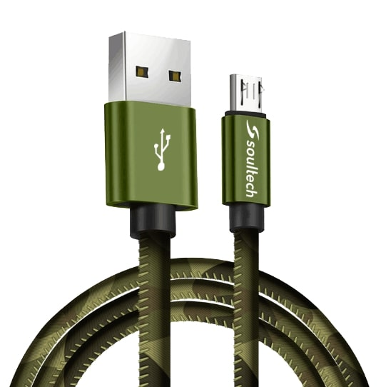 Soultech Army Metal Micro Platinum Kablo DK030  Yeşil